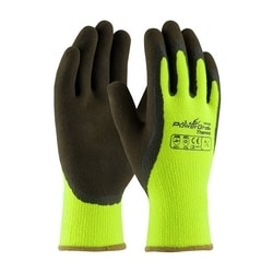 Hi-Vis Lime Acrylic Terry Shell, Brown MicroFinish Grip, Large