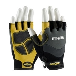 GUNNER, Goatskin Reinforced Palm, Spandex Back, Half-Finger, Medium