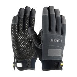 TORQUE, PVC & Silicone Palm, Black, Non-Slip Grip, Spandex Back, XL
