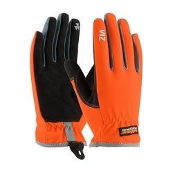 VIZ, HV Orange Back, Black Synthetic Leather Palm, Slipon Cuff, Small