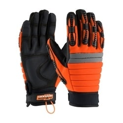 MINER'S MIRACLE, Black Synthetic Leather w/PVC Grip, HV Orange Back, Medium