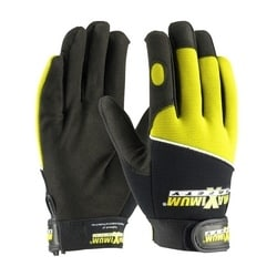 Professional Mechanic's Gloves, Black and Hi-Vis Yellow, Small