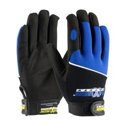 Professional Mechanic's Gloves, Black and Blue, Medium