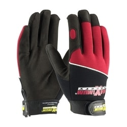 Professional Mechanic's Gloves, Black and Red, Medium