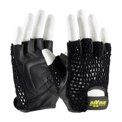 Lifting Gloves w/ Reinforced Padded Leather Palm, Crocheted Back, XL