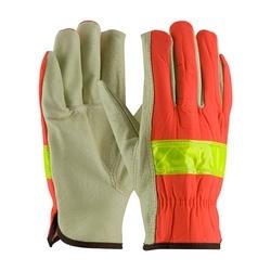 Hi-Vis Fabric, Top Grain Pigskin Leather Driver, Keystone Thumb, XL