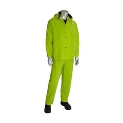 Rainsuit 3pc. .35mm PVC/Polyester, Hood, Corduroy Collar, Hi Vis Yellow, Medium