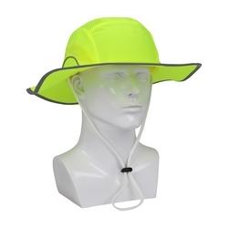 """JSP HardCap Ranger, Hi-Vis Lime, 3"""" Wide Full Brim w/ Strap, HDPE Liner"""