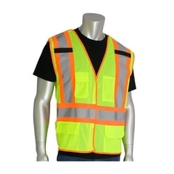 Class 2, Mesh Breakaway Vest, 5 Pockets, Hook & Loop Closure, Mic Tabs, Yellow, 4XL