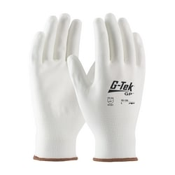 G-Tek, 13G White Nylon Shell, White PU Coat, XL