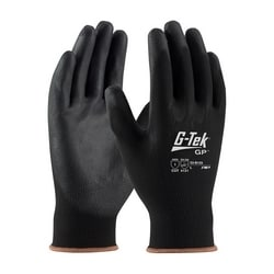 G-Tek, 13G Black Nylon Shell, Black PU Coating, XL