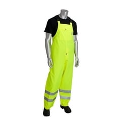 Class E Rain Bib Pant, W/B PU Ctd, High Back with Sus., 2in. Tape, Orange, 3XL
