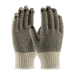 FingerNails , Cotton/Poly 7G HW, Coated Finger Tips, 2 Side Black Dot, Large