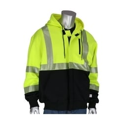 Arc Rated Hi-Vis ANSI 107 Black Bottom Sweatshirt, Hooded with zip, Small