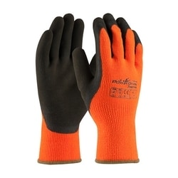 Hi-Vis Orange Acrylic Terry Shell, Brown MicroFinish Grip, Small