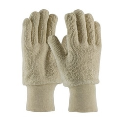 Terry Cloth Seamless Gloves, Loop-Out, 18 oz., KW, Natural, Large
