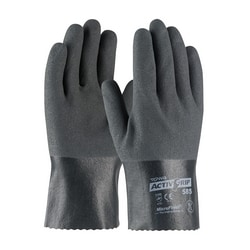 Supported, 15G Poly/Cotton Shell, Gray Nitrile w/MicroFinish, 10 Inch, XS
