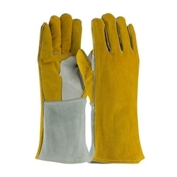 Welding Glove, Side Split, Foam Lined, Brown/Gray., Sewn w/Kevlar