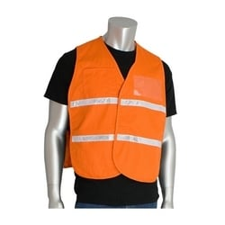 Non-ANSI IC Vest, Orange, Polyester, Hook & Loop Closure, 1in. White Gloss Tape, 2XL-3XL
