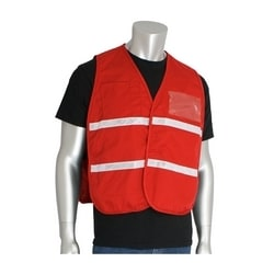 Non-ANSI IC Vest, Red, Poly/Cotton, Hook & Loop Closure, 1in. White Gloss Tape, 2XL-3XL