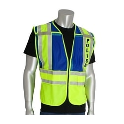 ANSI 207 PSV Vest, Police, Breakaway, Zipper Closure, 2x1in. Reflec. Blue, 5XL
