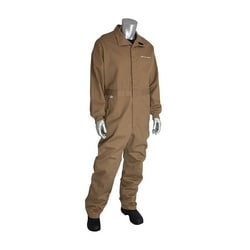 8 Cal FR Dual Cert. 7oz. Coverall, Vented Back, NFPA 70E & 2112, Tan, 4XL