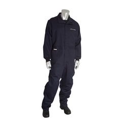 8 Cal FR Dual Cert. 7oz. Coverall, NFPA 70E & NFPA 2112, Navy, Large