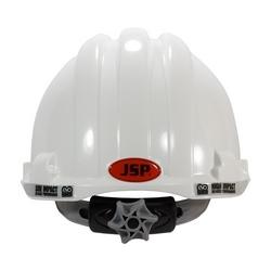 JSP MK8 Evolution, White, Vented, Textile Suspension, Wheel Ratcht, Class C
