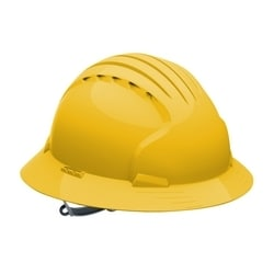 JSP Evo6141 Full Brim, Yellow, 6-Pt Textile Suspension, Slip Ratchet, Class E
