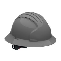 JSP Evo6161 Full Brim, Gray, 6-Pt Textile Suspension, Wheel Ratcht, Class E