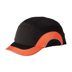 "JSP HardCap A1+ Low-Profile, Black/ HV Orange, Short 2"" Brim, HDPE Liner"