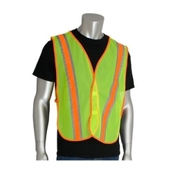 Non-ANSI Mesh Safety Vest, Yellow, Two-Tone Tape, Hook & Loop Closure, OSFM