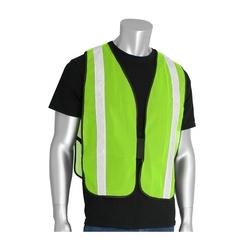 Non-ANSI Mesh Safety Vest, 1 3/8in. White Gloss Tape Hook & Loop Closure, OSFM