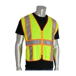 Class 2 Mesh Vest, 3 Pockets, Zipper Closure, 2in. Two Tone, Yellow