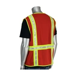 Non-ANSI Solid/Mesh Safety Vest, Split Trim, Zipper, Pockets, Red, 2XL