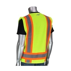 Class 2 Solid/Mesh Vest, Zipper, 8 Pockets, Mic Tab, Two Tone Tape, Yellow, 3XL