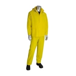 Rainsuit 3pc. .35mm PVC/Polyester, Hood, Corduroy Collar, Yellow, 2XL