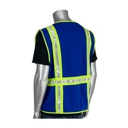 Non-ANSI Solid/Mesh Safety Vest, Split Trim, Zipper, Pockets, Blue, 4XL