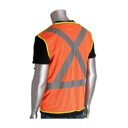 Class 2, Z96 Mesh Breakaway Vest, X Back Hook & Loop Closure 2in. Tape, Orange, Medium