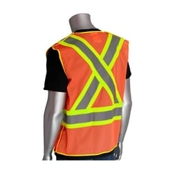 Class 2, Z96 Mesh Breakaway Vest, X Back Hook & Loop Closure Two Tone, Orange, Small