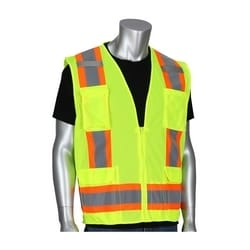 Class 2 Mesh Vest, Zipper, 11 Pockets, Mic Tab, Two Tone Tape, Yellow, 2XL