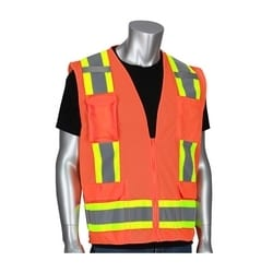 Class 2 Mesh Vest, Zipper, 11 Pockets, Mic Tab, Two Tone Tape, Orange, Medium