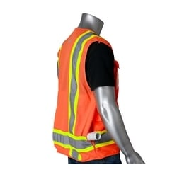 Class 2 Tech Vest, 8 Pockets, ID, Mic Tabs, Two Tone Tape, Orange, Large