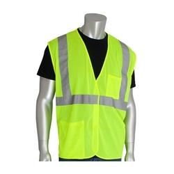 Class 2 Mesh Vest, 2 Pockets, Hook & Loop Closure, 2in. Tape, Yellow, 3XL
