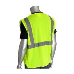 Class 2 Mesh Breakaway Vest, 3 Pkts Hook & Loop Closure, 2in. Tape, Yellow, 2X