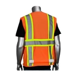 Class 2 Mesh Vest, 12 Pockets, Zipper Closure, Two Tone Tape, Orange, 3X