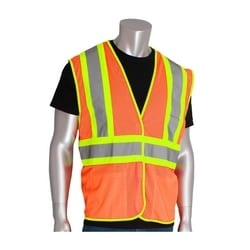 Class 2 Mesh Vest, 3 Pockets, Hook & Loop Closure, Two Tone Tape, Orange, 5X