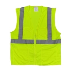 Class 2 Mesh Vest, 4 Pockets, Zipper Closure 2in. Tape, Yellow, 5X