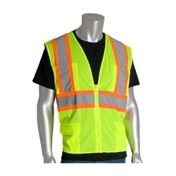 Class 2 Mesh Vest, 6 Pockets Zipper Closure Two Tone Tape, Yellow, 3X