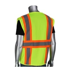 Class 2 Mesh Vest, 6 Pockets, Zipper, Mic Tabs, Two Tone Tape, Yellow, 3XL